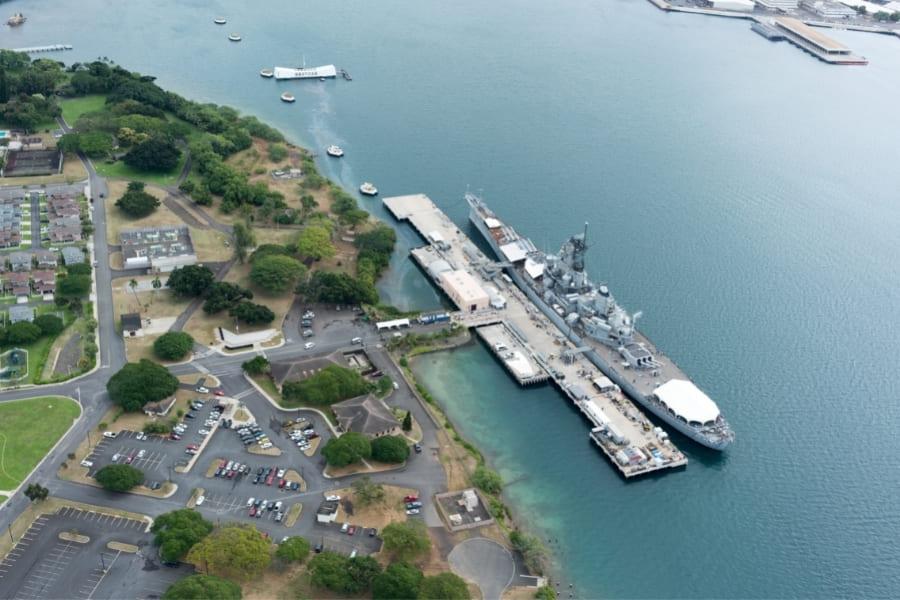 Aerial view of Pearl Harbor, Hawaii