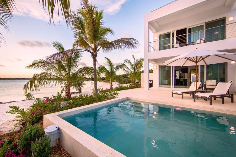 Beach view from the pool at Villa Positano - Photo credit CaribiqueVillaRentals