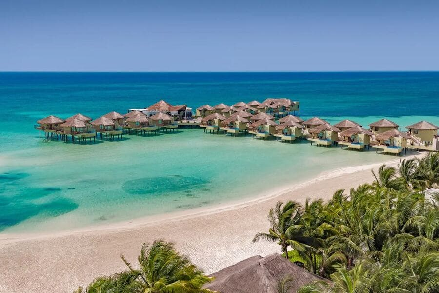 Aerial view of Palafitos Overwater Bungalows - Photo credit Expedia