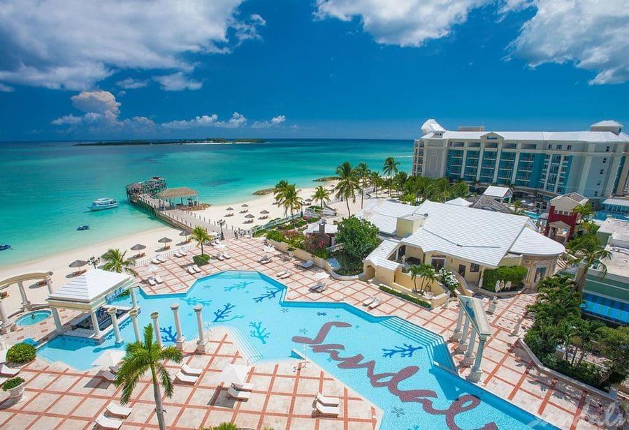 Aerial view of Sandals Royal Bahamian - Photo credit Sandals Resorts