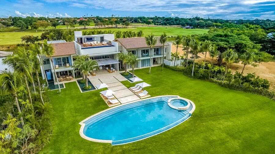 Aerial view of oceanfront villa - Photo credit Casa de Campo Resort & Villas