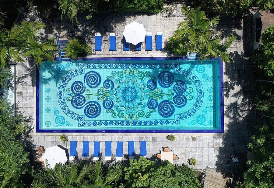 Aerial view of the pool - Photo credit Graycliff Hotel