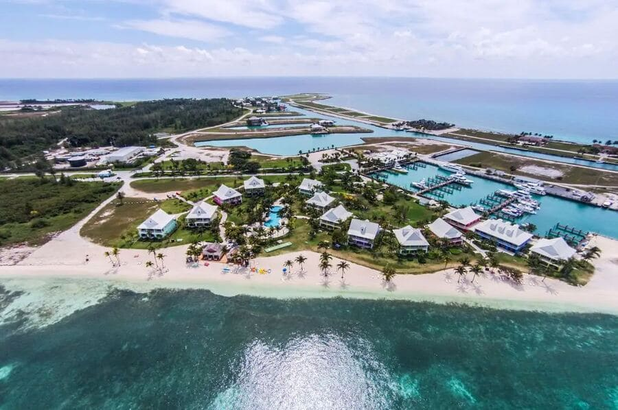 Aerial view of the resort - Photo credit Old Bahama Bay Resort & Yacht Harbour