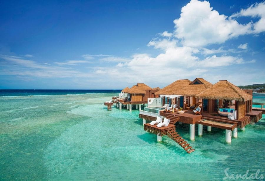 Overwater Villas at Sandals Royal Caribbean - Photo credit Sandals Resorts & Spa