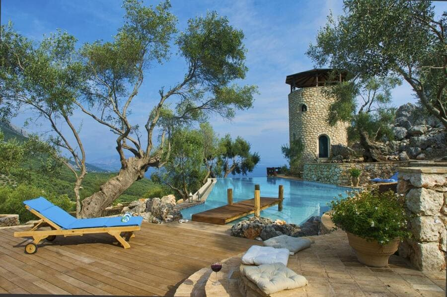Pool view at Magic Rocks, Corfu - Photo credit OliversTravels